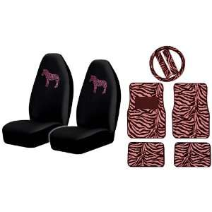 Embroidered Unique Pink Zebra High Back Seat Covers with Zebra Style