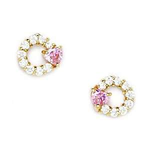 14k Yellow Gold Pink CZ Small Circle With Heart Screwback