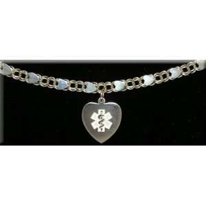 14KT Ladies Fancy Heart Double Link Style Medical ID Charm