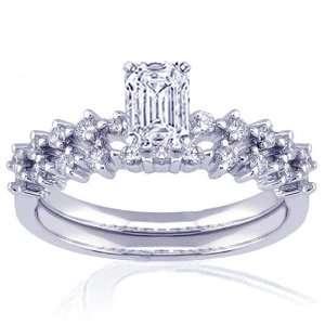 1.35 Ct Emerald Cut Diamond Engagement Wedding Rings Prong
