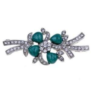 Vintage Emerald Flower Austrian Rhinestone Crystal Brooch