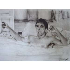 Scarface (1983)   Al Pacino taking a bath Sketch Portrait