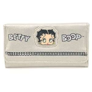 Classic Beauty Queen Betty Boop Long Trifold Wallet in Diamond Bling