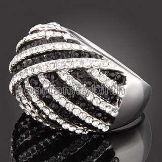 18K white GOLD GP Swarovski crystal ring 1519