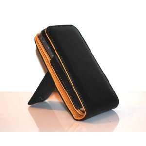 Black Genuine Leather Flip Pouch Cover Case with 360* Viewing Angle