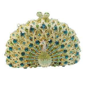 Glitzy Bird Peacock Evening Bag Green Swarovski Crystal Peafowl
