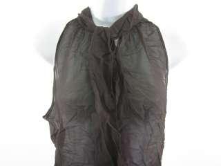 VIOLETTE Brown Sheer Sleeveless Blouse Tank Top Shirt S