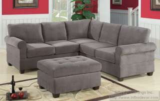 Modern Grey Fabric Sectional Sofa Love Couch Set and 27