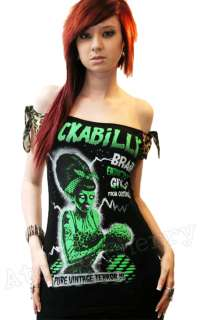 Zombie Top T Shirt Pin Up Punk Horror Leopard Brains Cool