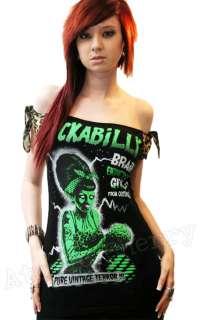 Zombie Top T Shirt Pin Up Punk Horror Leopard Brains Cool