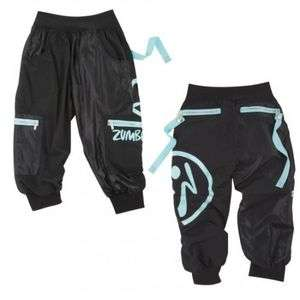 ZUMBA Wonder Cargo Capri Pants Shorts Black New