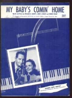 My Babys Comin Home 1952 LES PAUL/MARY FORD Sheet Music