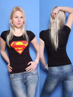 New Womens Girls Short Sleeve Superman Crop TOP Dress T Shirt Size S/M