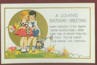 082008 LOVELY ANTIQUE BIRTHDAY POSTCARD CHILDREN WATERING CANS