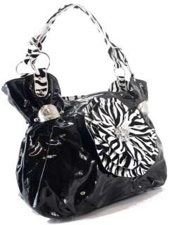 NEW RHINESTONE ZEBRA FLOWER HOBO HANDBAG PURSE BK WHITE
