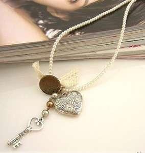 Korean fashion love heart&key pear chain Necklace N 177