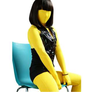 Yellow Female Full Body Lycra Spandex Zentai Suit S XXL