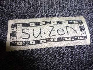 Su Zen Charcoal Gray Crew Neck Knit Sweater S Small