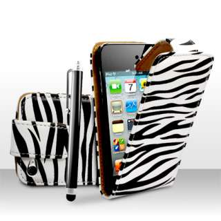 Zebra Print Leather Flip Case Cover For Apple iPod Touch 4 4G + Stylus