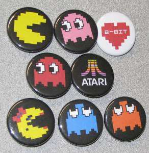 Lot 8 Classic Pac Man Atari Buttons Pins Badges