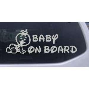 Silver 28in X 9.8in    Baby On Board (Girl) Car Window Wall Laptop