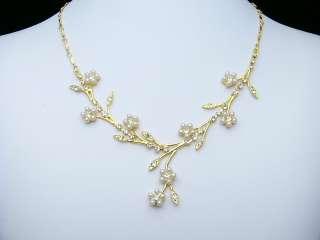 Gold Flower Wedding Crystal Pearl Necklace Set 1144