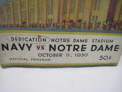 Vintage 1930 Navy vs Notre Dame Football Program Dedication Stadium