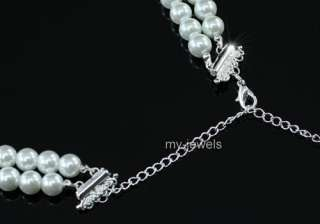 Bridal Wedding Rose White Faux Pearl Necklace Set S1196