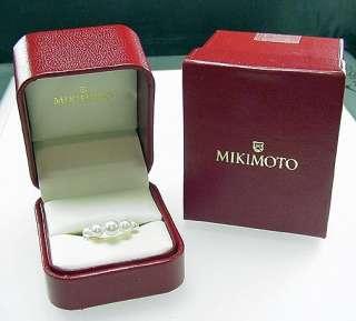 STUNNING ESTATE 18K MIKIMOTO 5 PEARL RING W/ BOXES