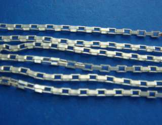 Solid Sterling Silver Box Chain 1.56mm Sold by the FOOT