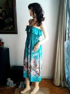 1538) Flower print ruffle strapless maxi dress S M L