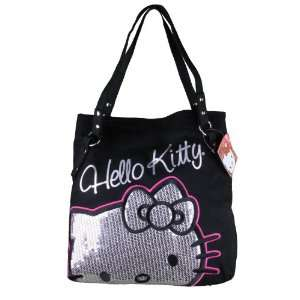 Official Licensed Hello Kitty Large Black Handbag with Sparkle Siver
