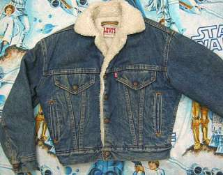 LINED 80s BLUE DENIM Jacket Youth M usa trucker jean boys