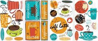 New CAFE PEEL & STICK WALL DECALS Coffee Cup Stickers Kitchen