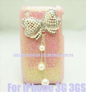 Bling Bow pink Case Cover for iPhone 3G 3GS T5