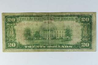 1929 $20 Twenty Dollar Bill Federal Reserve Bank Note Boston Brown
