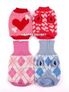 Dog Cat Pet Clothes Knitted Jumper Sweater Argyle Heart