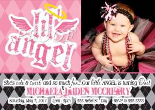 Little Angel First Birthday Party Invitation