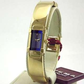 YEMA Womens Gold Tone Blue Dial Bangle Bracelet Watch NIB