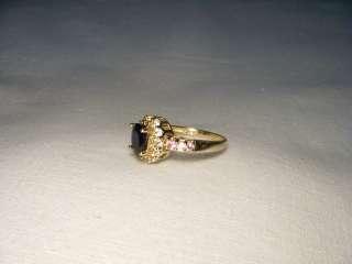 Unique Estate 14K Yellow Gold Multi Color Sapphire Ring