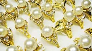 wholesale jewerly 25pcs pearl Rhinestone Gold tone Ring
