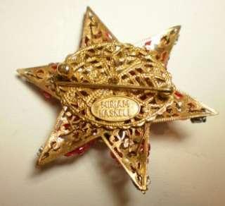 MIRIAM HASKELL FLOWER BEAD RHINESTONES STAR PIN