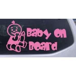 Pink 36in X 18.8in    Baby On Board (Boy) Car Window Wall Laptop Decal