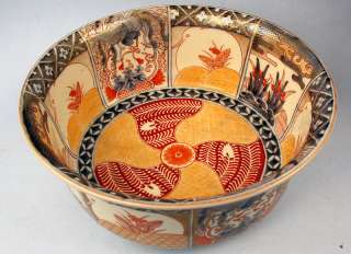 Large Japanese Meiji Deep Imari Bowl Great Detail