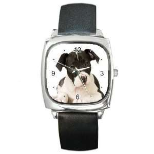 American Staffordshire Puppy Dog Square Metal Watch FF0015