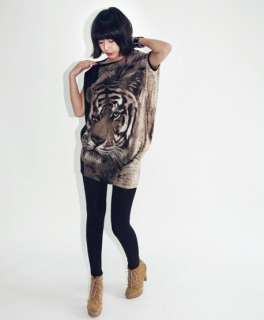 Womens Fashion T shirts Casual Tiger Printed Long LOOSE T Shirt Top