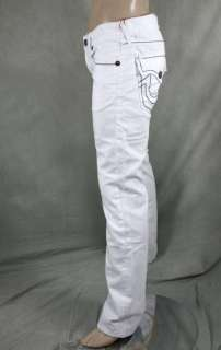 Mens True Religion Jeans BILLY Giant Big T Body rinse WHITE