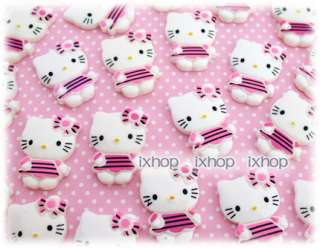 12 pcs Hello Kitty Stripes (Large) Resin Cabochon Flatback 6001 0355