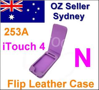 253A iPod Touch 4 iTouch 4 Purple Leather Flip Case