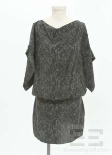 & Grey Snake Print Silk Batwing Dress Size Medium, NEW $254